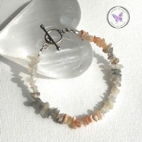 Multi Colour Moonstone Chip Bracelet With Silver Toggle Clasp